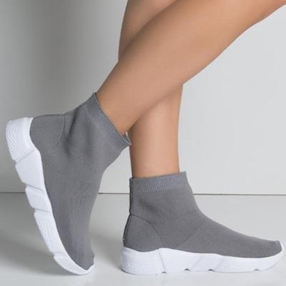 Shoes | Grey High Top Sock Sneaker